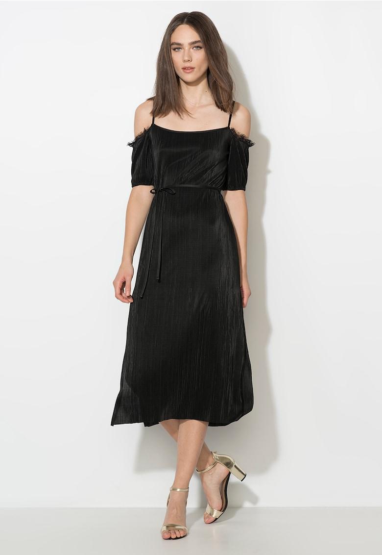 Zee Lane Collection Rochie neagra cu decolteu pe umeri si garnituri de dantela