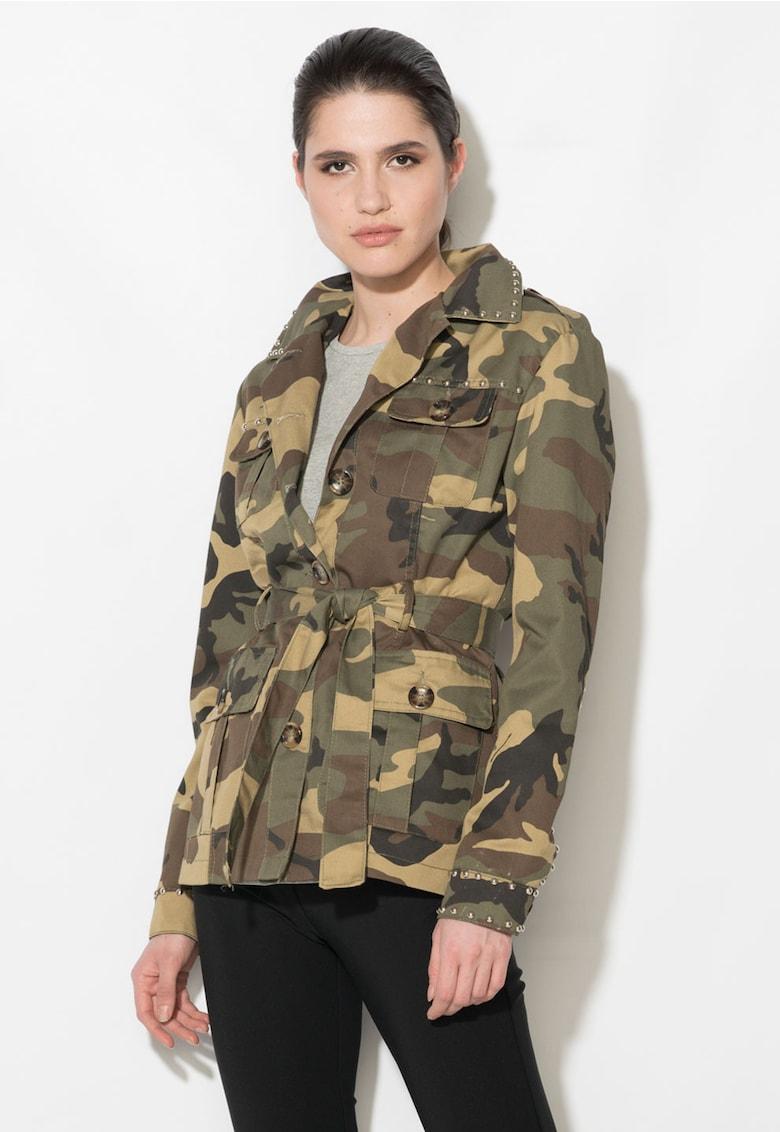 Jacheta militara verde militar cu maro si imprimeu camuflaj thumbnail