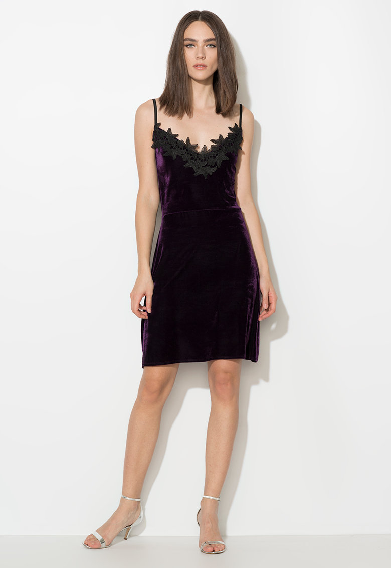 Zee Lane Collection Rochie violet inchis catifelata