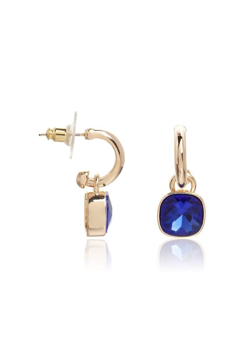 Cercei aurii cu cristal albastru de sticla