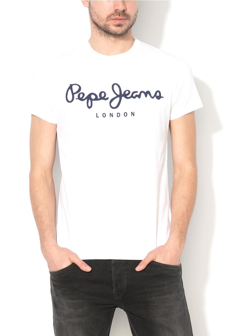 Tricou slim fit alb cu logo Original