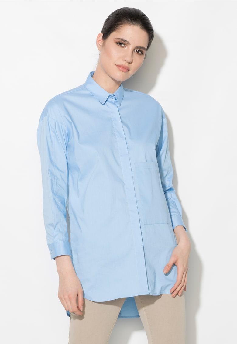 Camasa albastru pastel cu buzunar pe piept