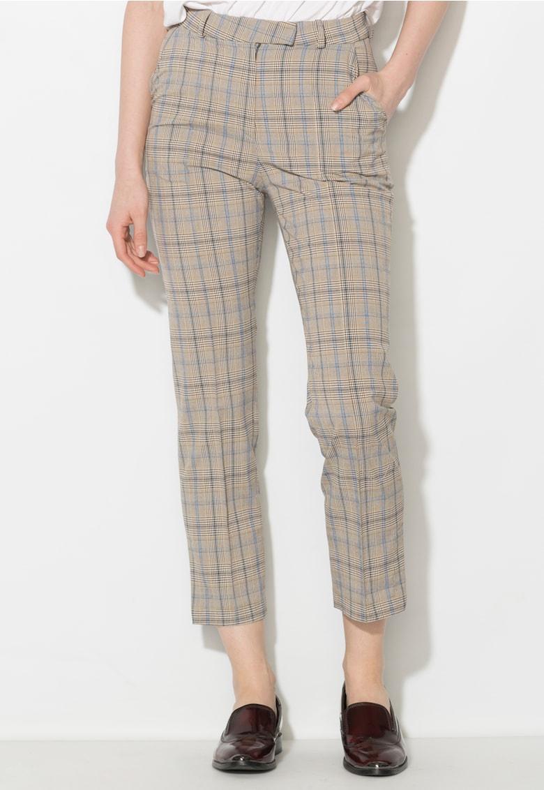 Pantaloni in nuante de gri cu albastru in carouri Zee Lane Denim