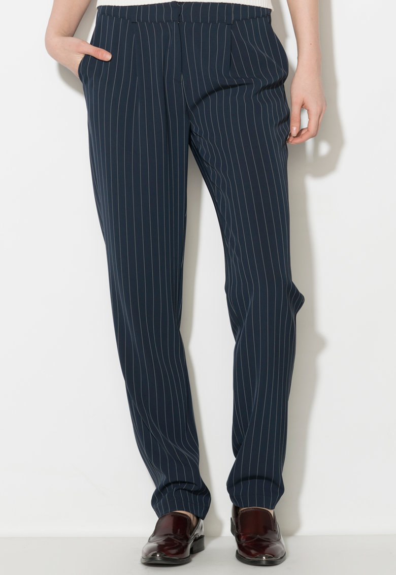 Pantaloni bleumarin cu alb si dungi discrete thumbnail