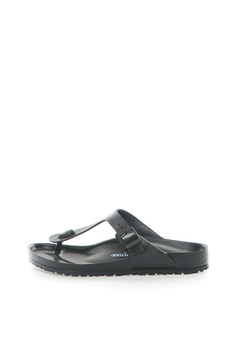 Papuci flip-flop negri cu calapod clasic Gizeh de la Birkenstock