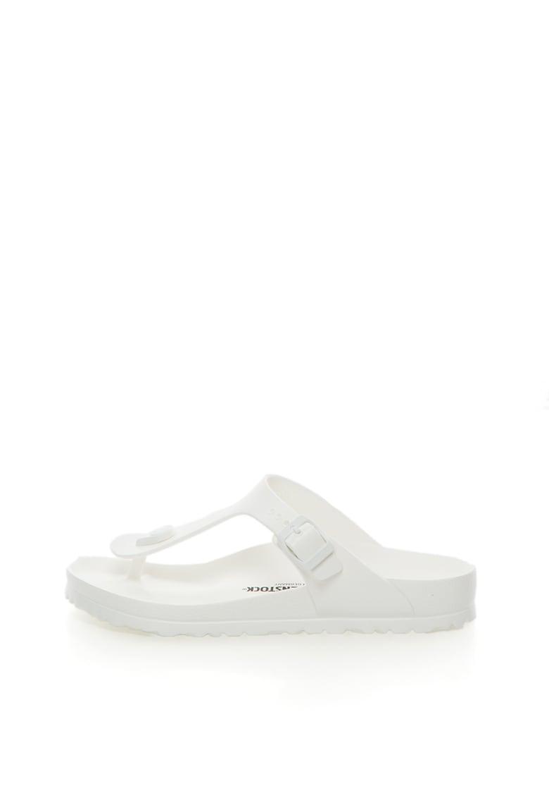 Papuci flip-flop albi cu calapod clasic Gizeh de la Birkenstock