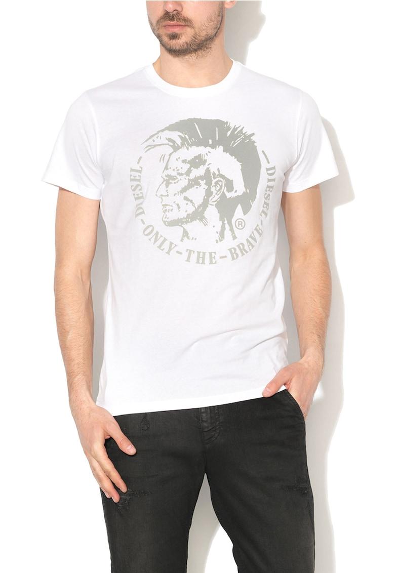 Tricou alb cu imprimeu logo gri Diego