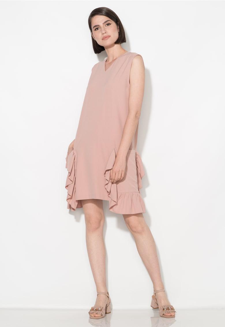 Zee Lane Collection Rochie roz prafuit dreapta cu buzunare supradimensionate