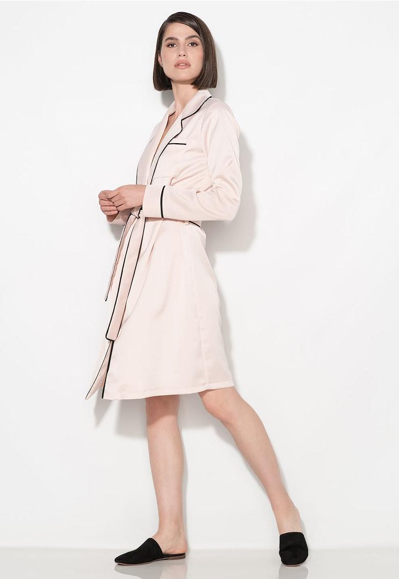 Rochie roz prafuit cu negru petrecuta Zee Lane Collection