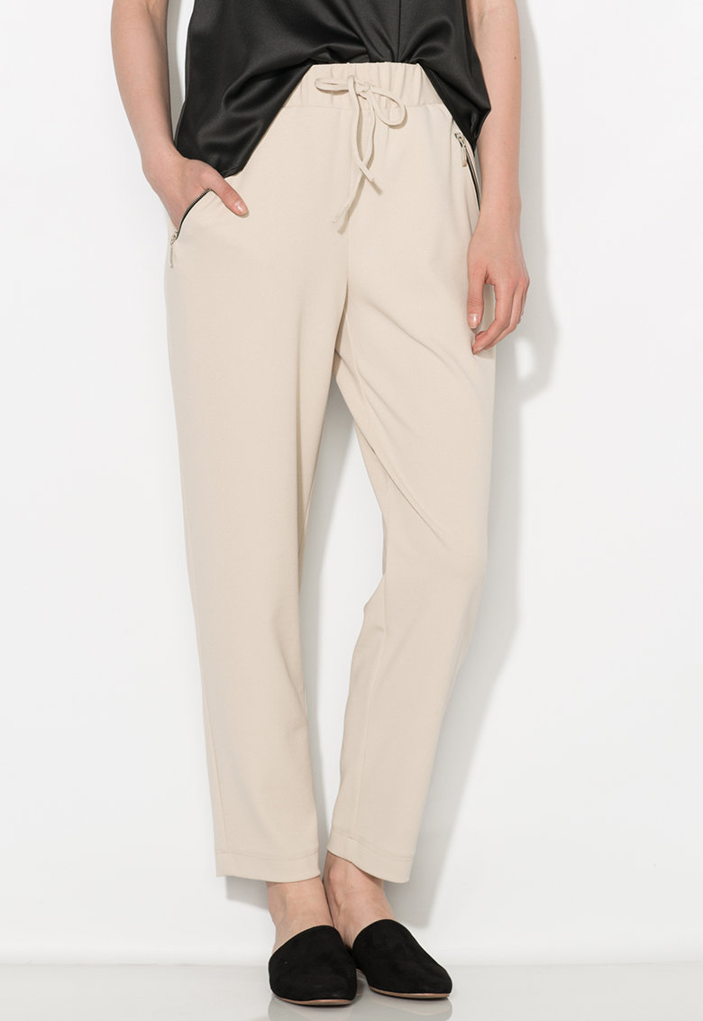 Pantaloni crop bej Zee Lane Collection