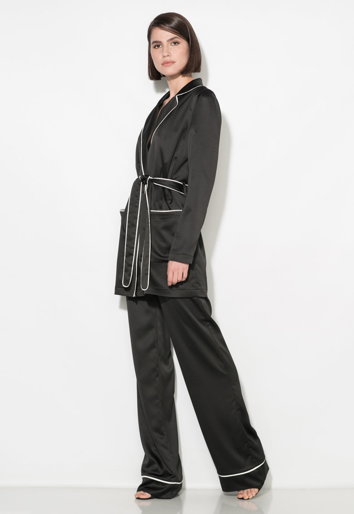 Zee Lane Collection Pantaloni negri vaporosi cu croiala ampla