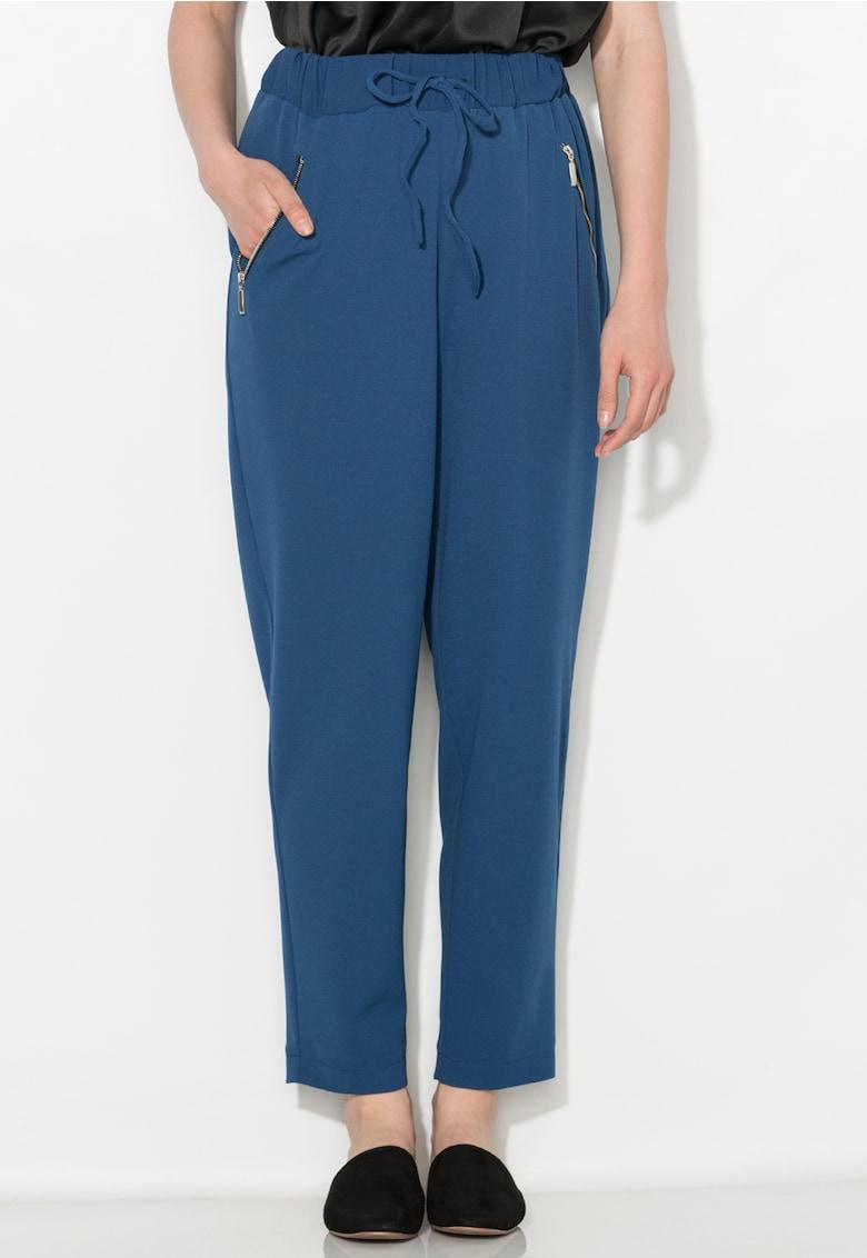 Pantaloni crop albastru inchis