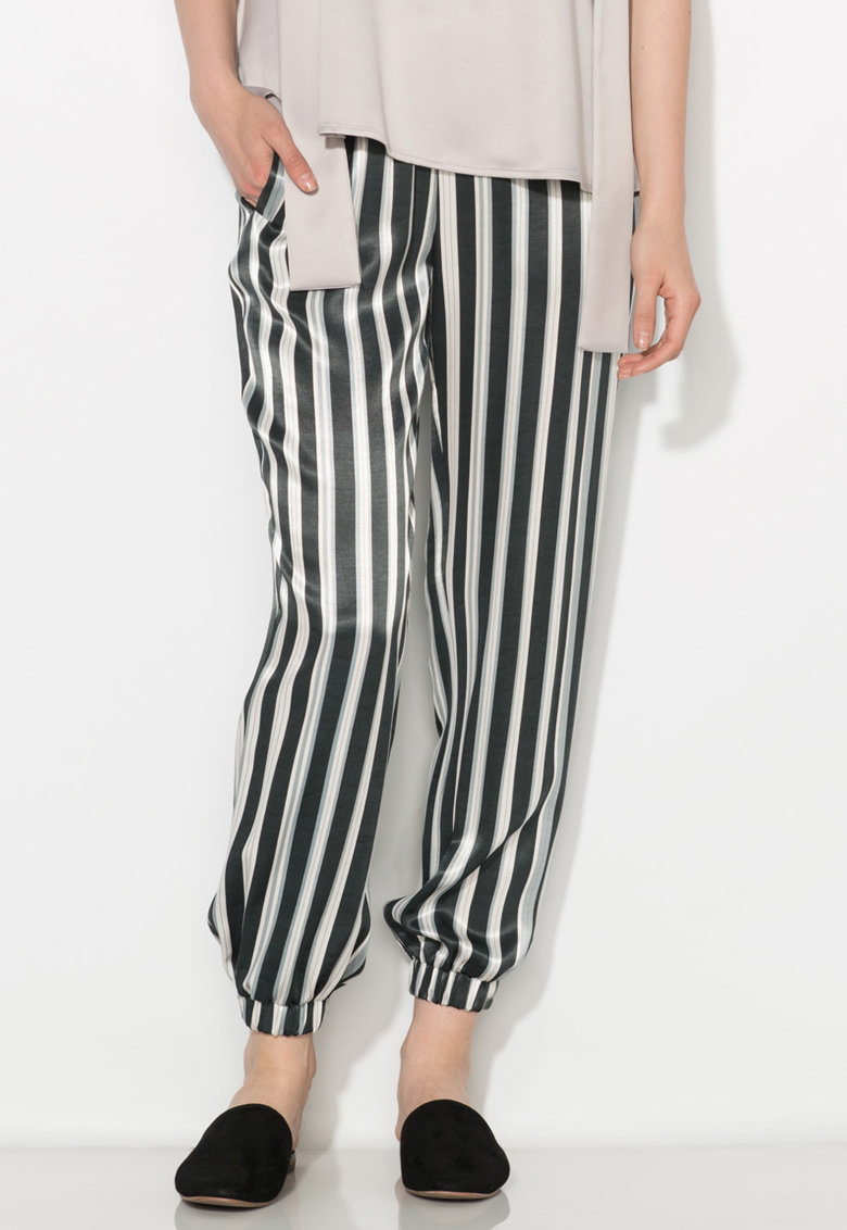 Zee Lane Collection Pantaloni matasosi negru cu alb in dungi