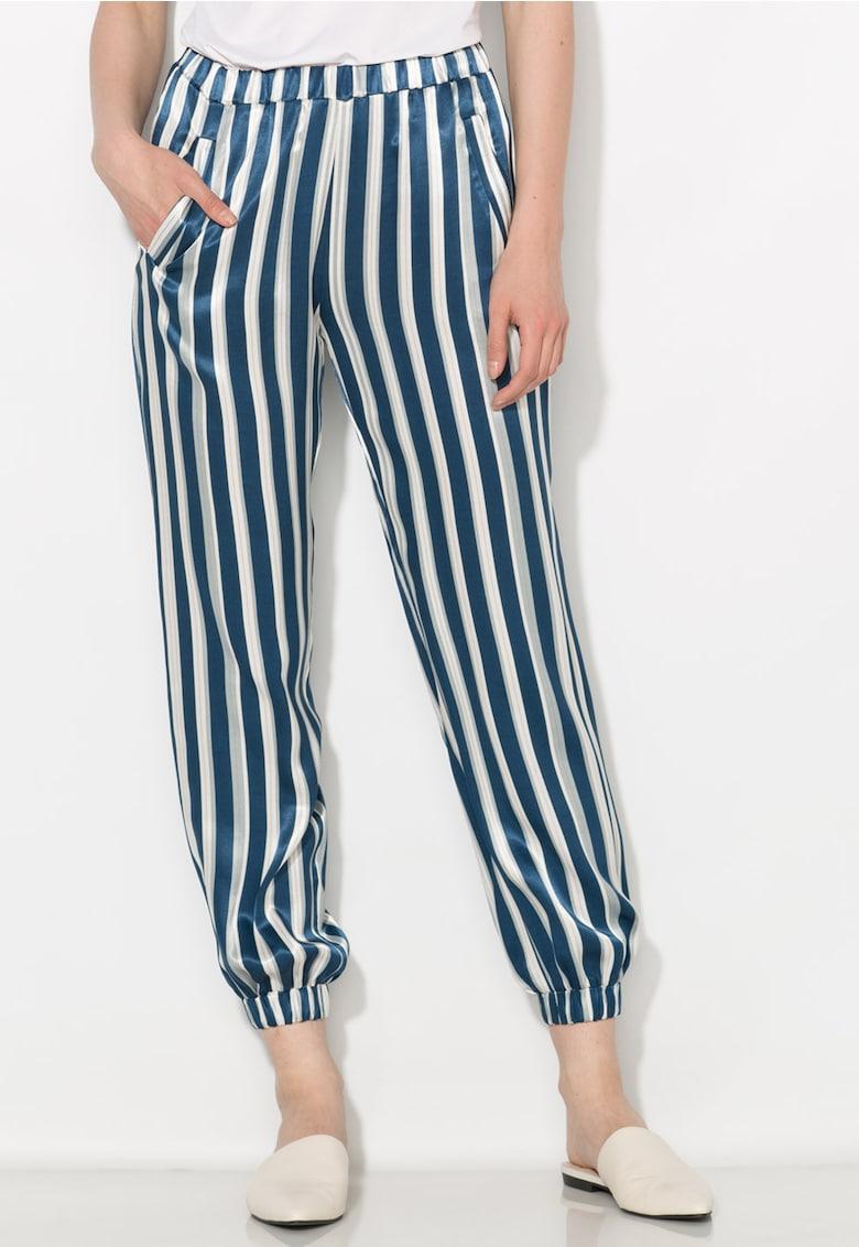 Pantaloni matasosi albastru inchis cu alb in dungi