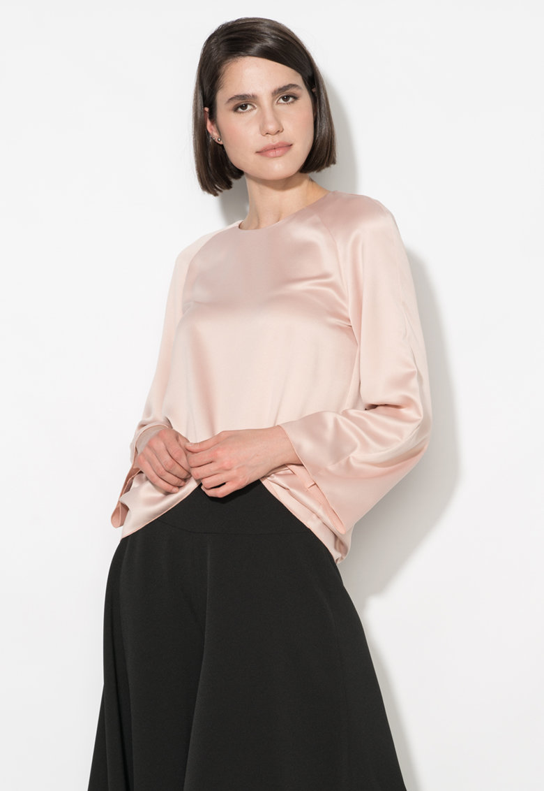 Zee Lane Collection Bluza roz pastel cu maneci evazate