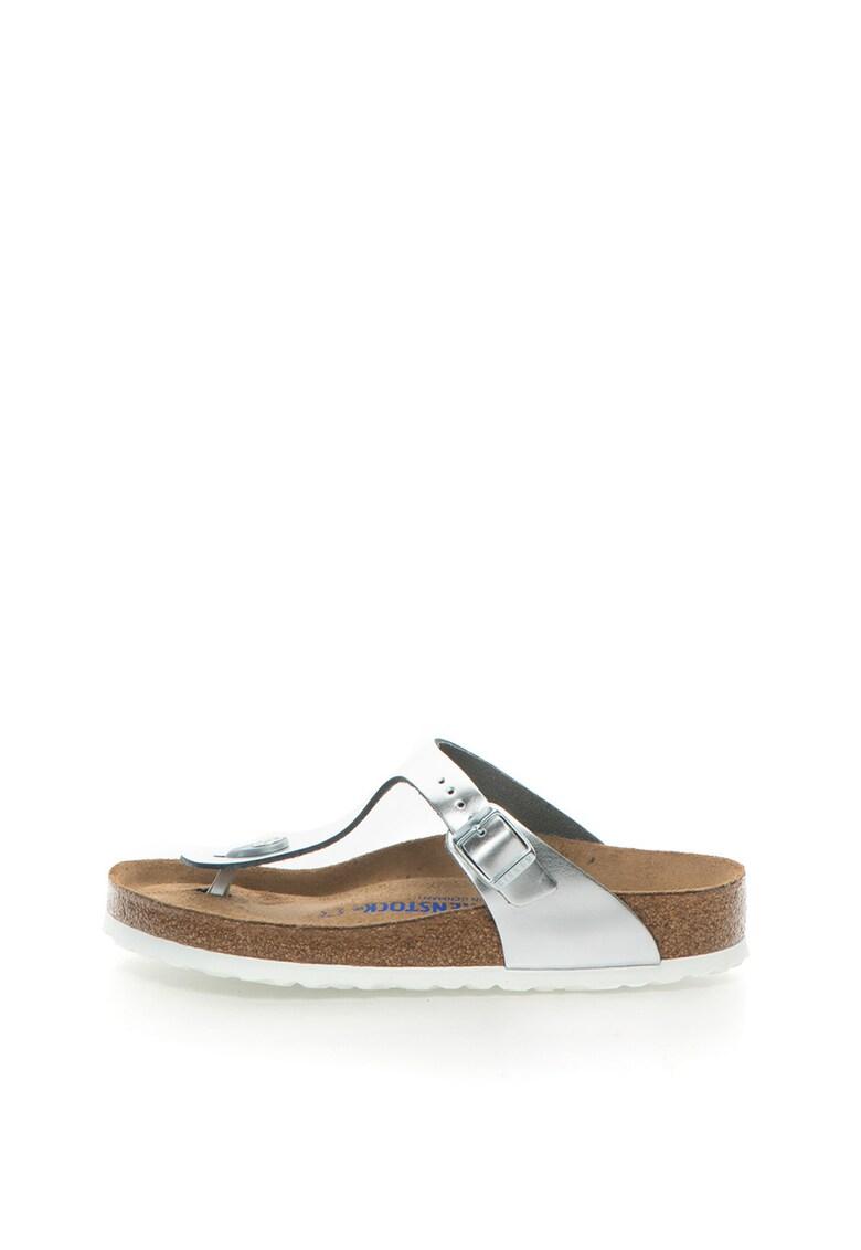 Papuci flip-flop argintii de piele cu calapod clasic Gizeh de la Birkenstock