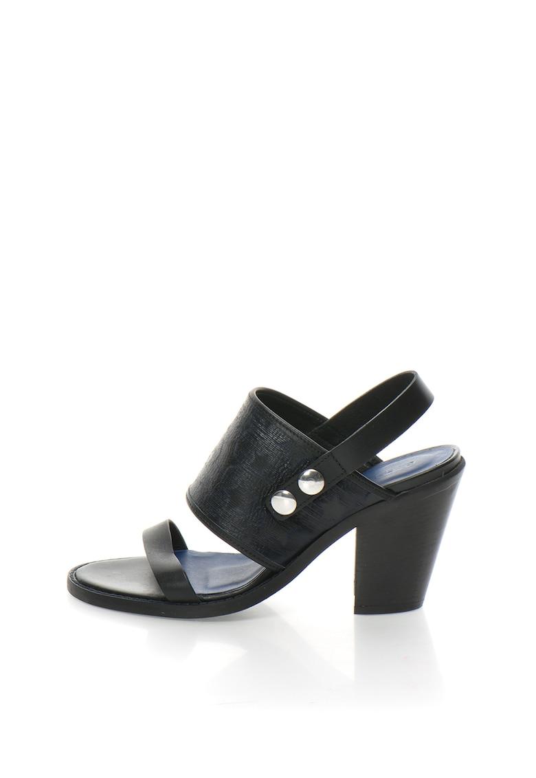Sandale negru cu bleumarin de piele D Anys