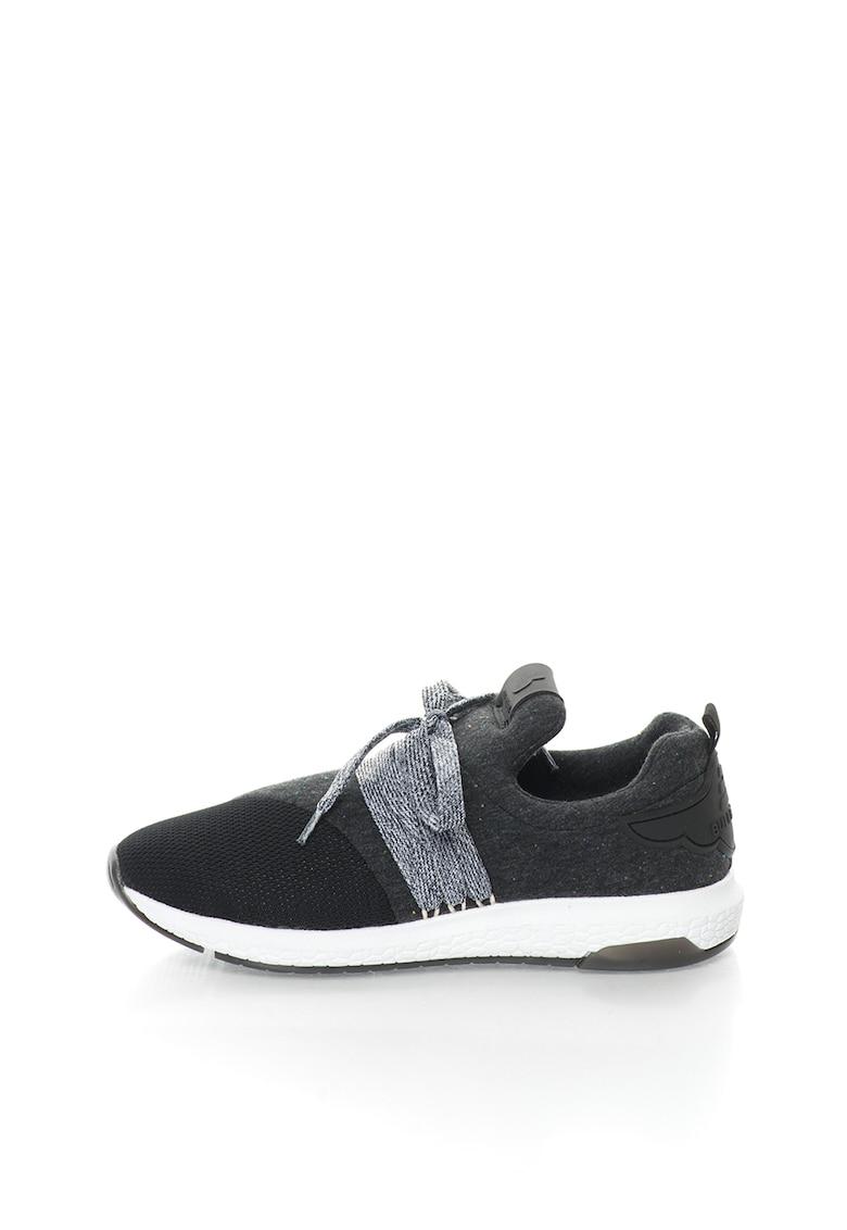Pantofi sport slip-on gri inchis melange cu segment din plasa