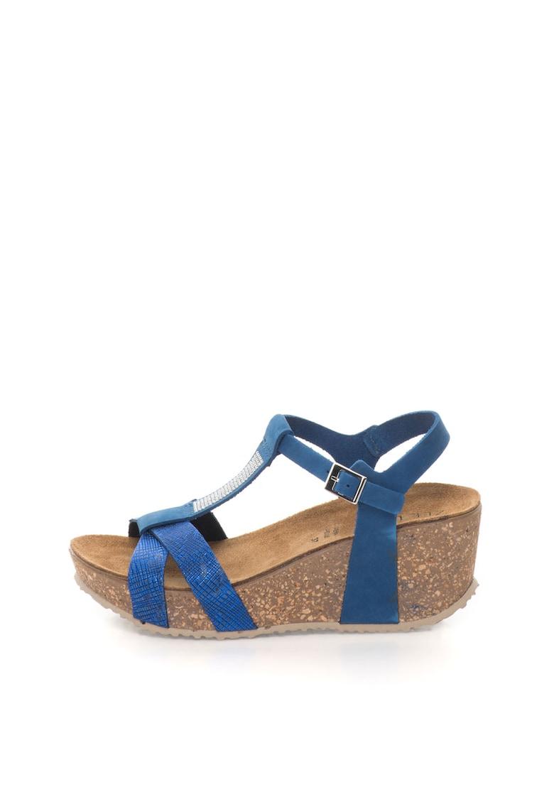 Sandale wedge albastre de piele nabuc thumbnail