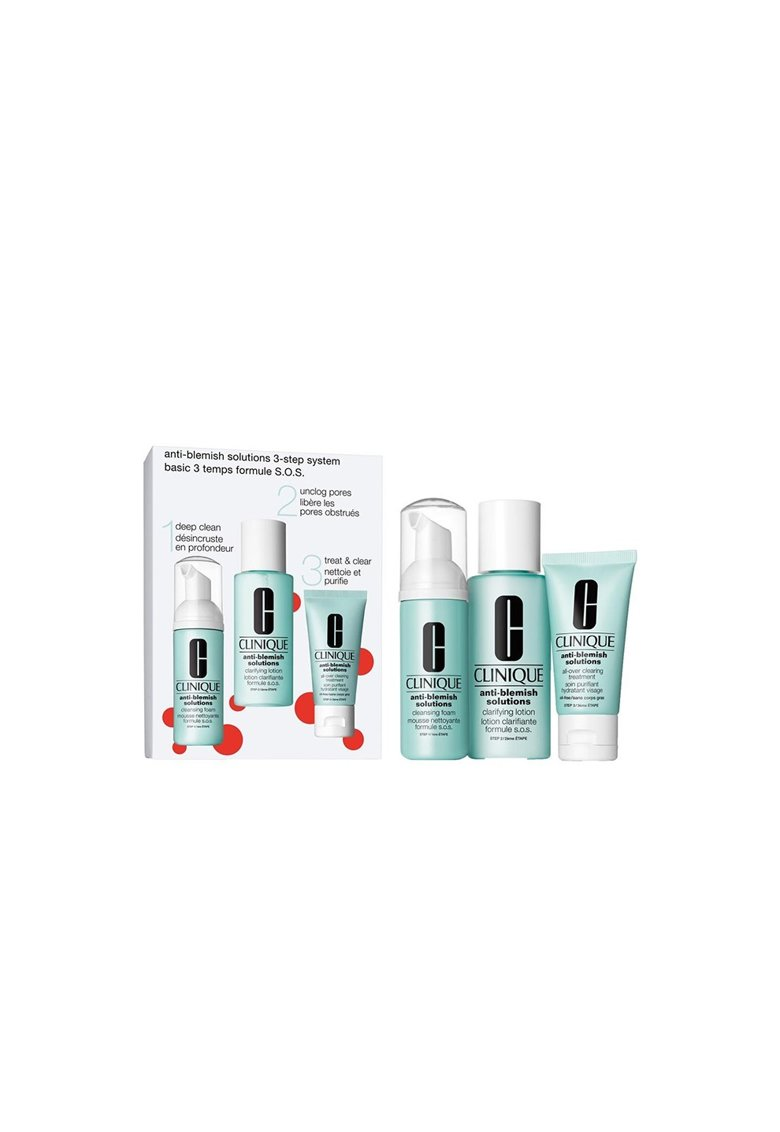 Set Anti-Blemish 3 step Skin Care System: 1 X Spuma de curatare 50 ml - 1 X Lotiune de curatare 100 ml - 1 X Crema hidratanta 30 ml