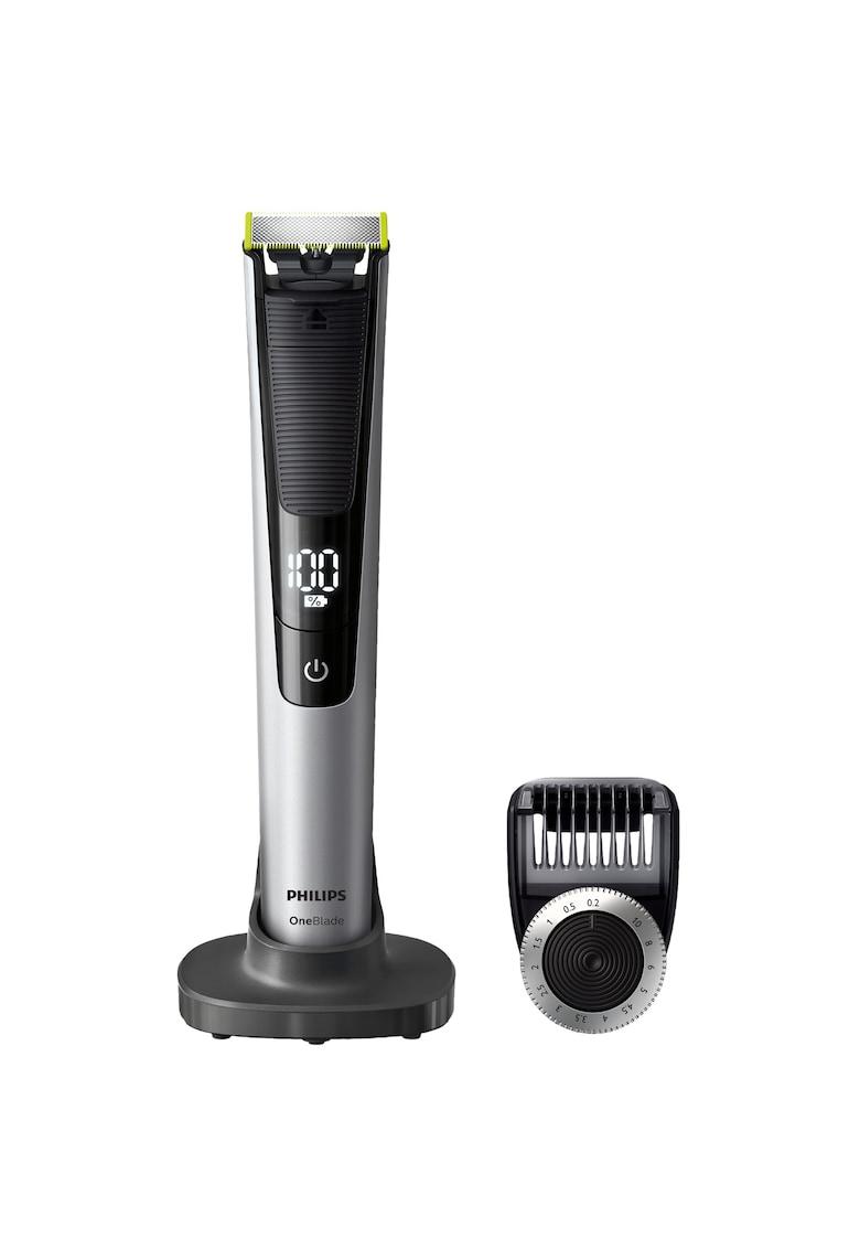 Aparat hibrid de barbierit si tuns barba OneBlade Pro QP6520/20 - Pieptene de precizie cu 14 lungimi - Stand - Husa - Acumulatori - Negru