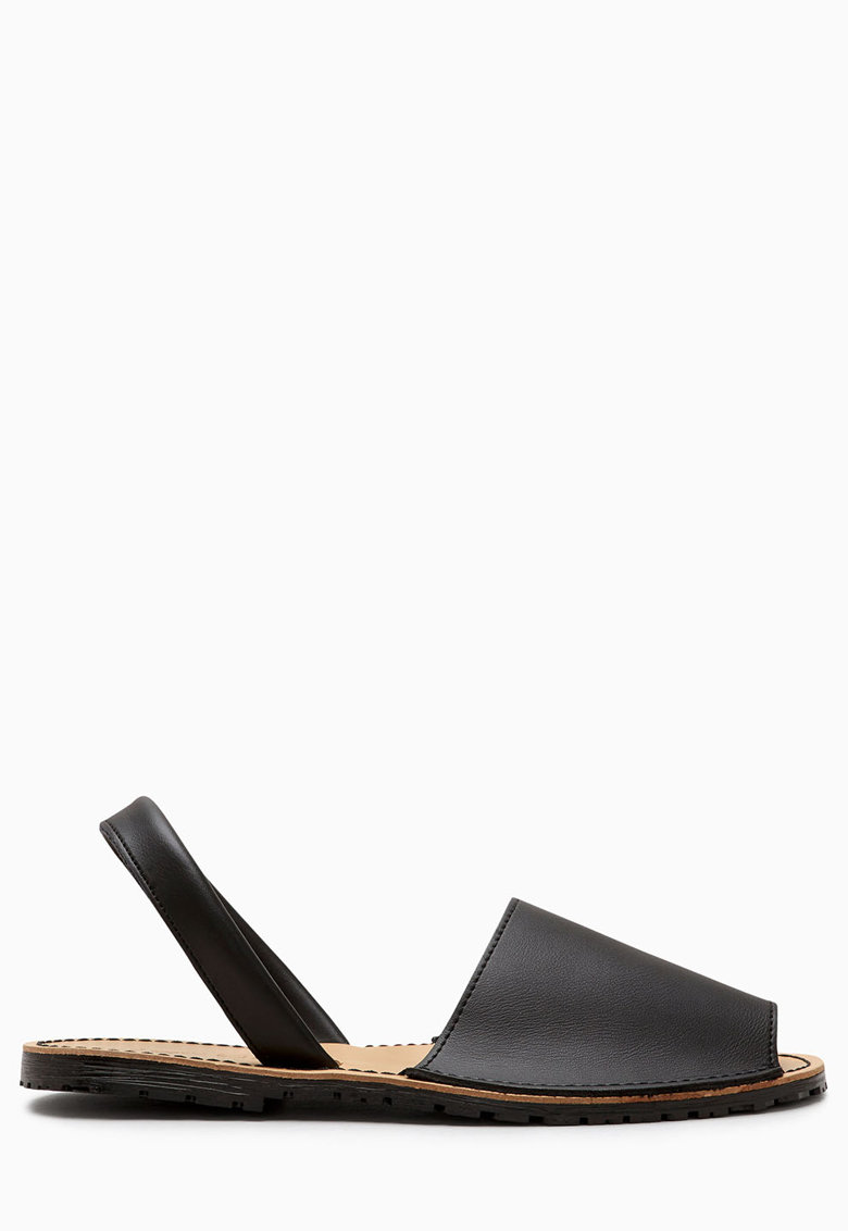 Sandale slingback negre de piele