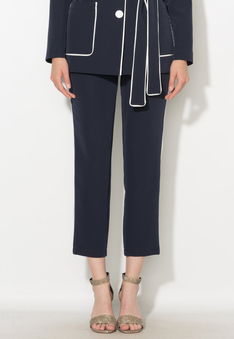 Pantaloni crop bleumarin cu vipusca Zee Lane Collection