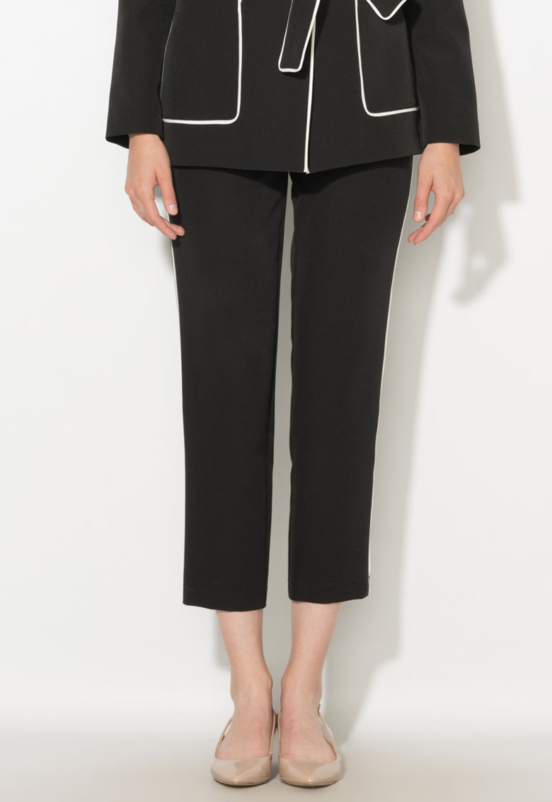 Zee Lane Collection Pantaloni crop negri cu vipusca