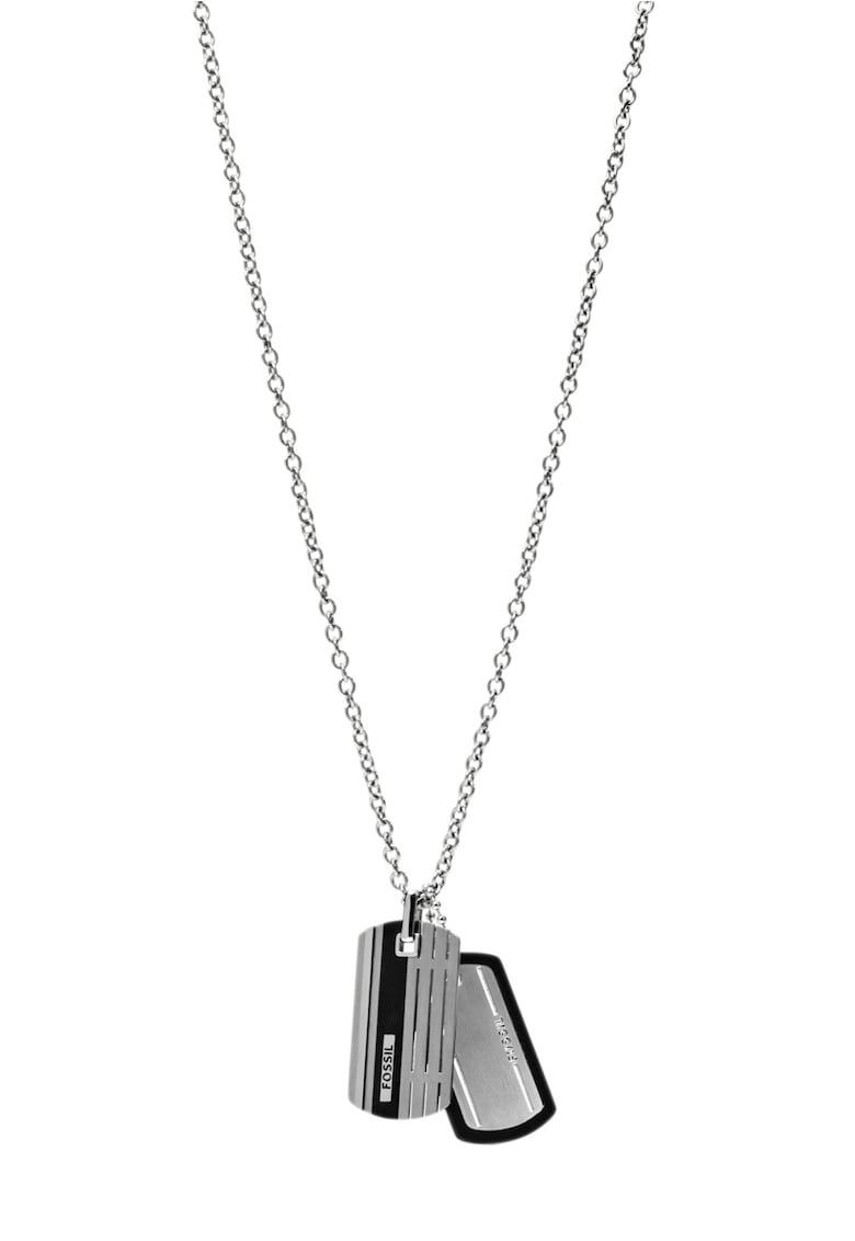 Colier argintiu cu negru imagine