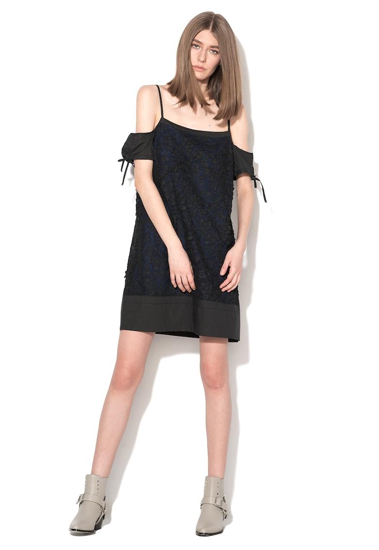 Rochie de plasa negru cu bleumarin inchis Delacroix