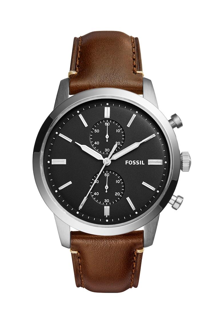Ceas cronograf maro cu argintiu Townsman