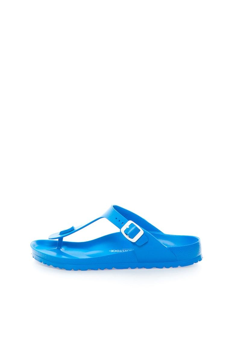 Papuci flip-flop albastri cu calapod clasic Gizeh de la Birkenstock