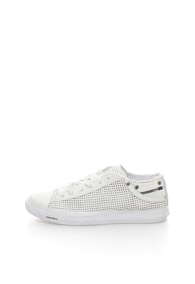 Pantofi sport albi perforati cu insertii de piele Exposure IV imagine fashiondays.ro 2021