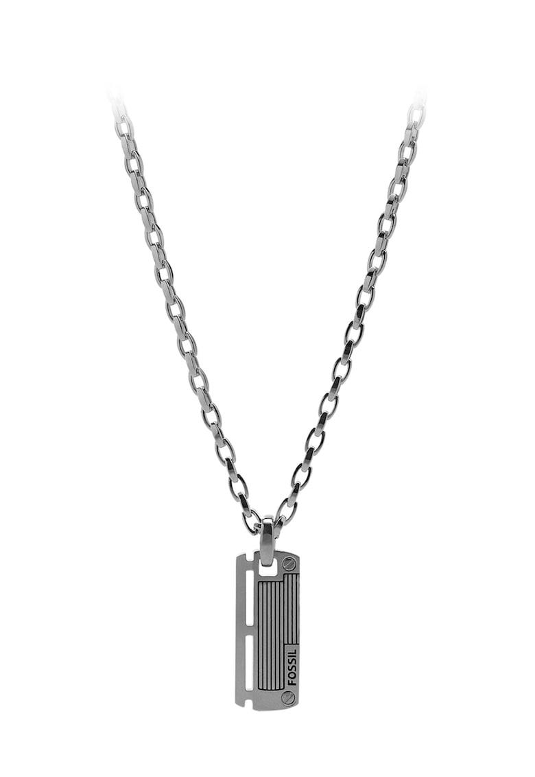Colier argintiu cu pandantiv dreptunghiular imagine fashiondays.ro