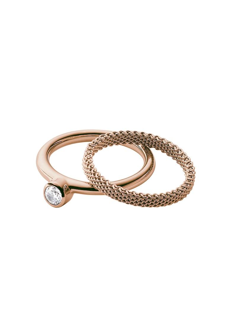 Set de inele auriu rose - 2 piese