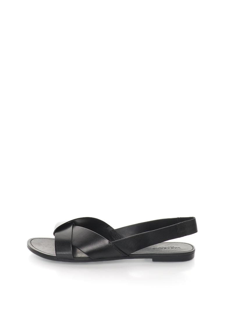Sandale slingback negre de piele Tia