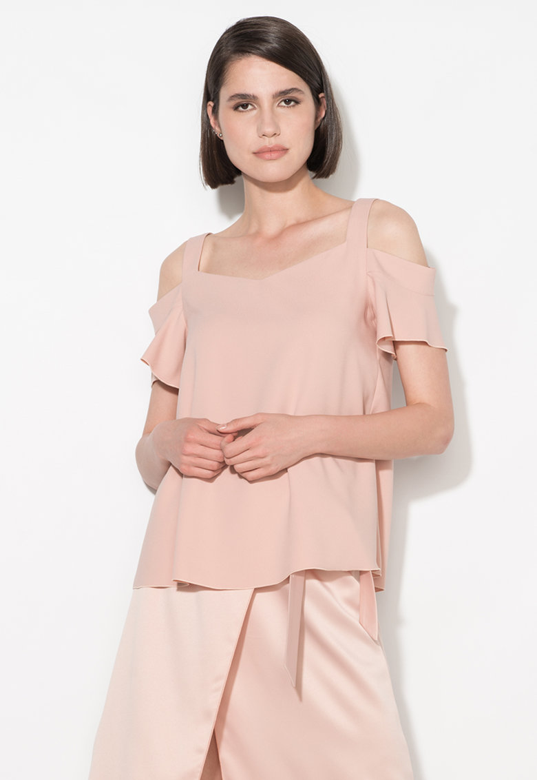 Zee Lane Collection Bluza roz pastel cu decupaje pe umeri