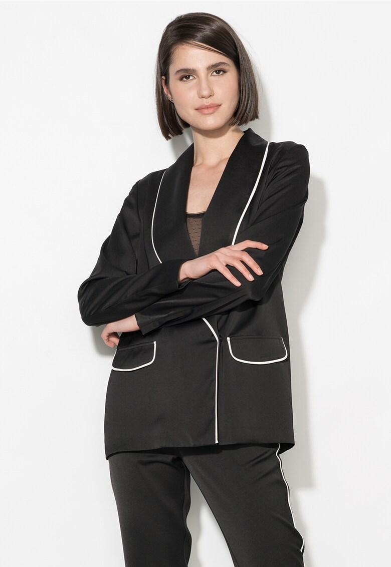Zee Lane Collection Sacou negru cu garnituri albe