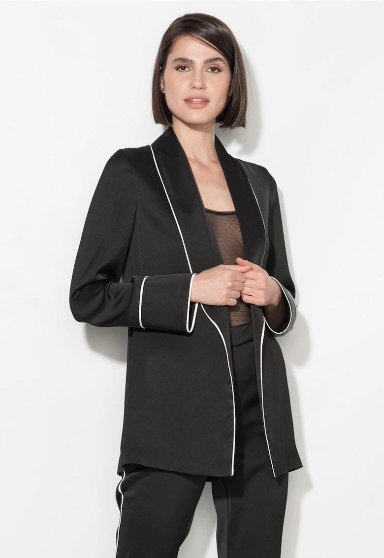 Sacou negru fara inchidere si cu garnituri albe