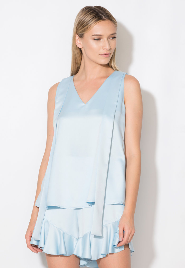 Top bleu cu detaliu cu funde Zee Lane Collection