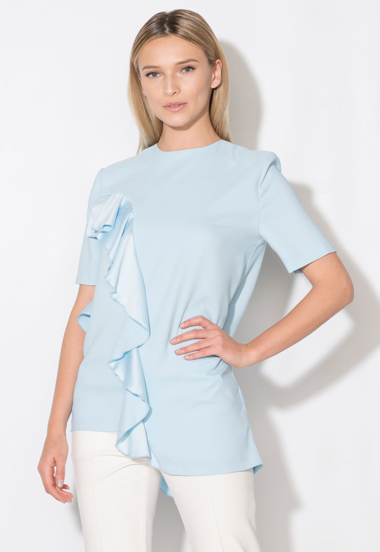 Bluza asimetrica bleu cu volane Zee Lane Collection