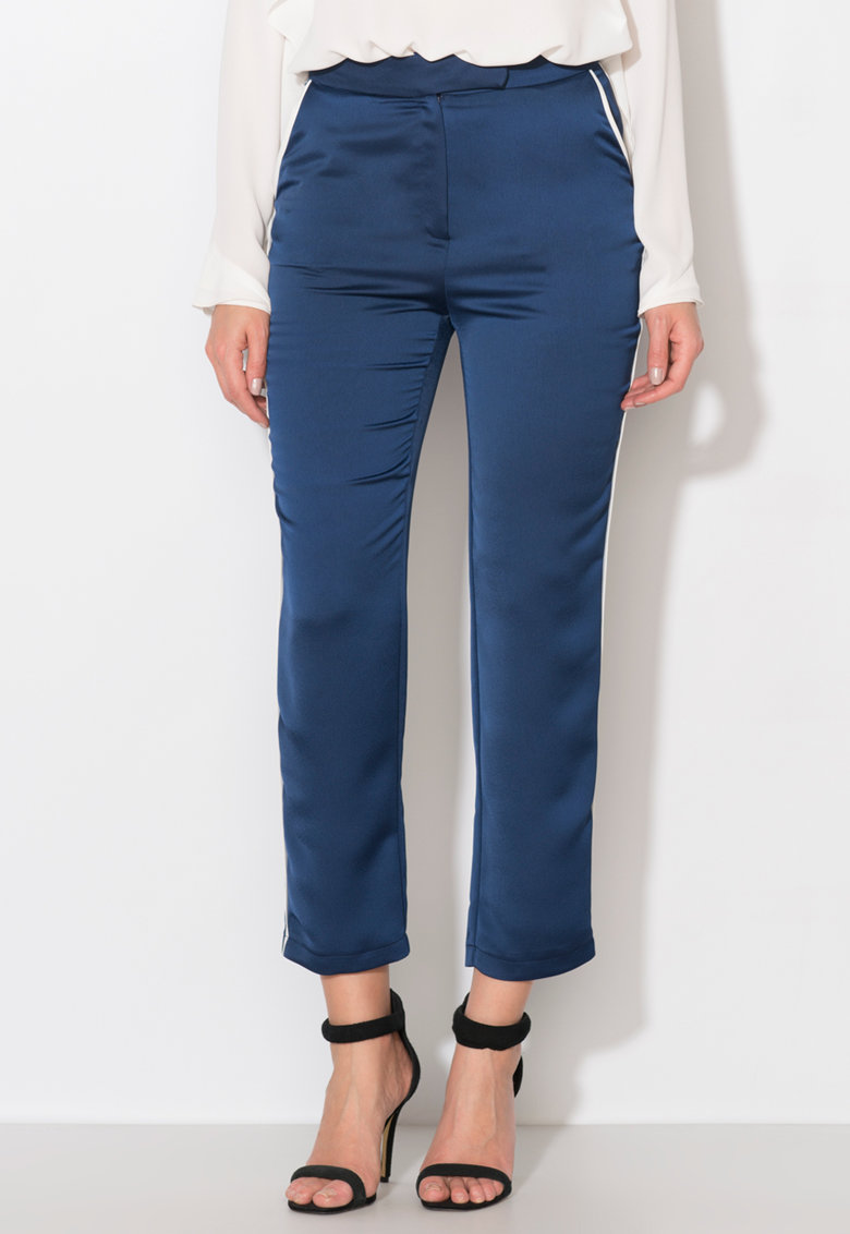 Pantaloni bleumarin cu vipusca alba Zee Lane Collection