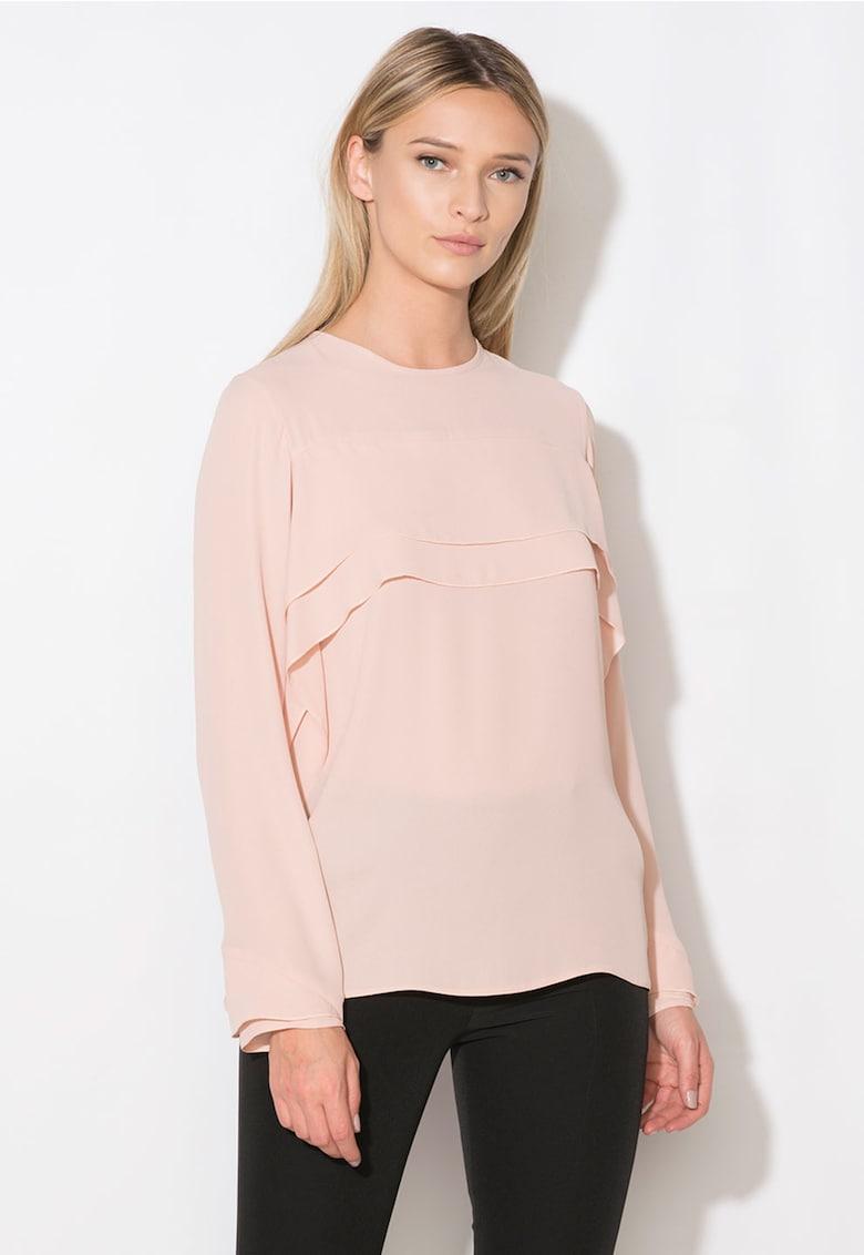 Zee Lane Collection Bluza roz prafuit cu volane