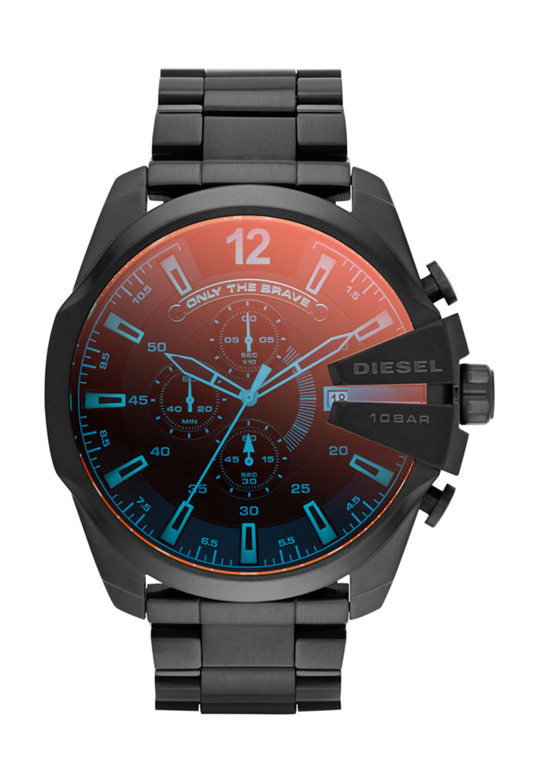 Ceas cronograf negru cu geam cu irizatii imagine