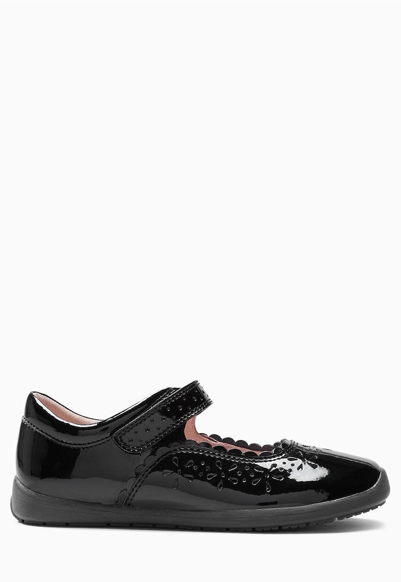 Pantofi Mary Jane negri de piele lacuita NEXT