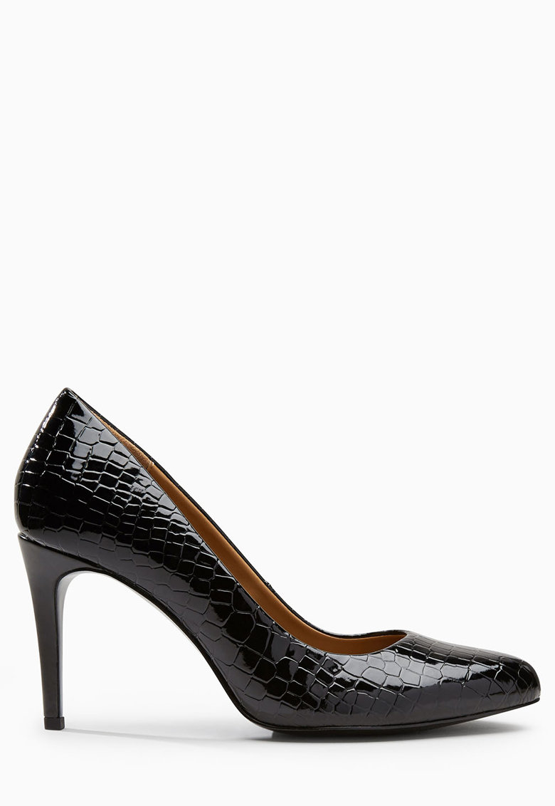 Pantofi cu toc inalt si model reptila - de piele sintetica