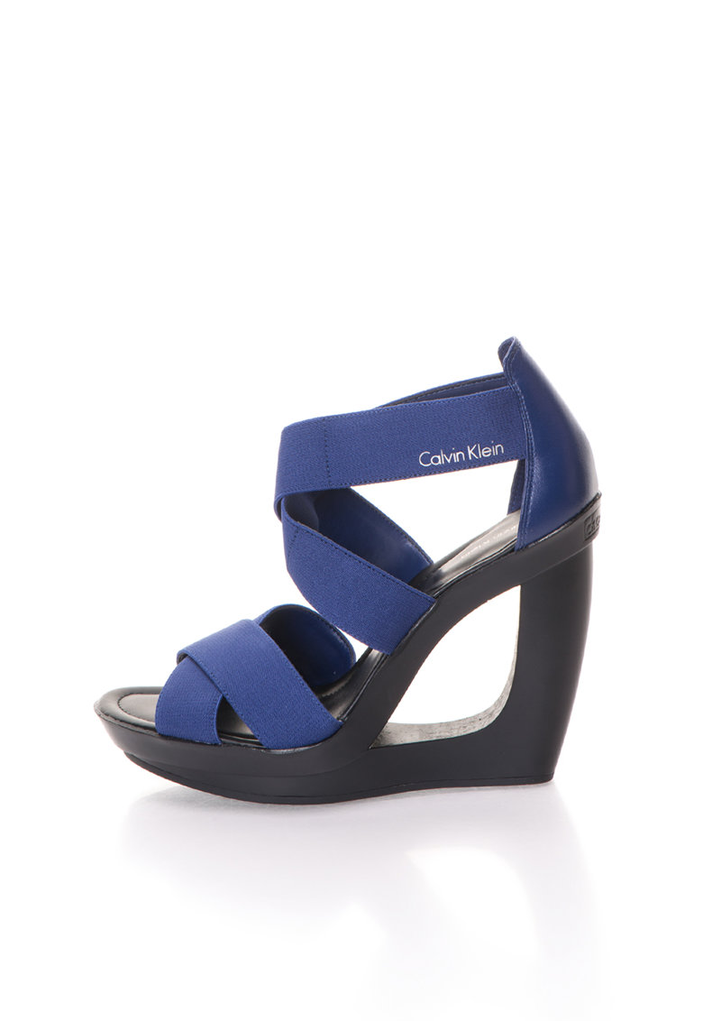 Sandale wedge albastru royal Yvette