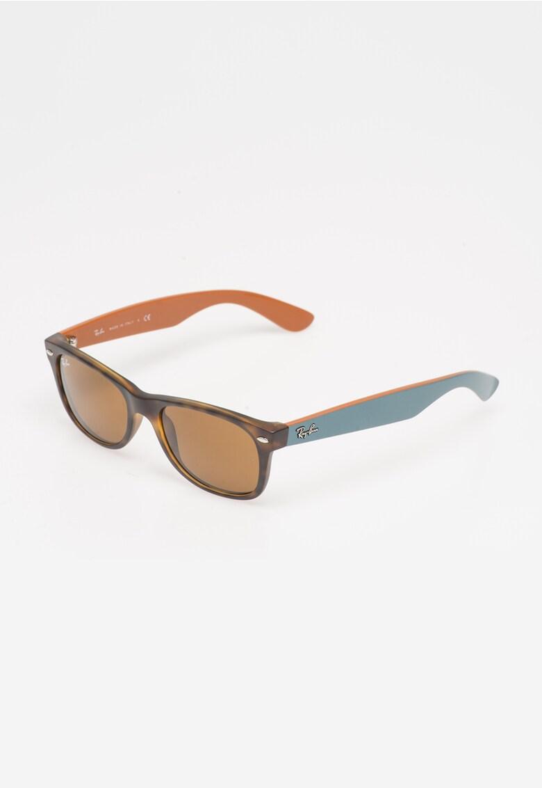 Ochelari de soare maro Havana cu albastru prafuit New Wayfarer imagine
