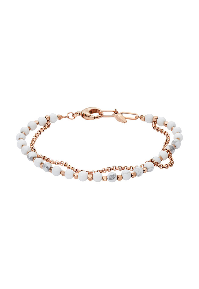 Fossil Bratara auriu rose cu insertii de mother of pearl