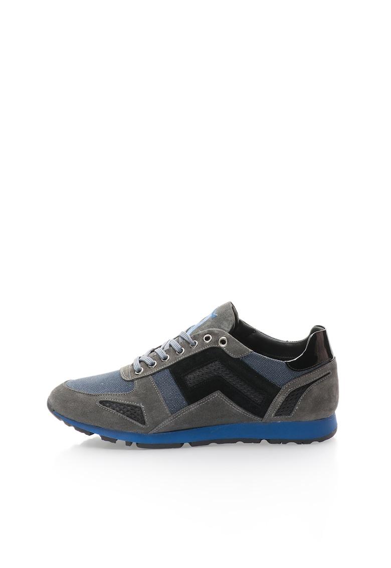 Pantofi sport de piele intoarsa si piele lacuita